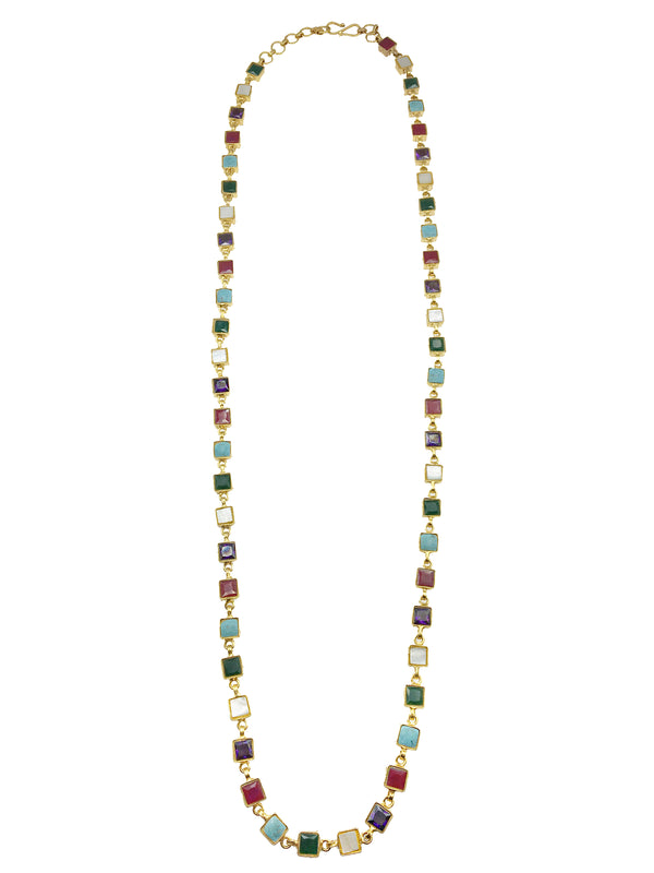 Multi Stone Square Mala Necklace