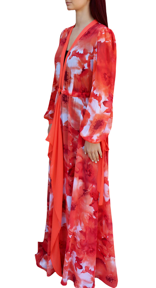 Orange Watercolors Maxi Dress