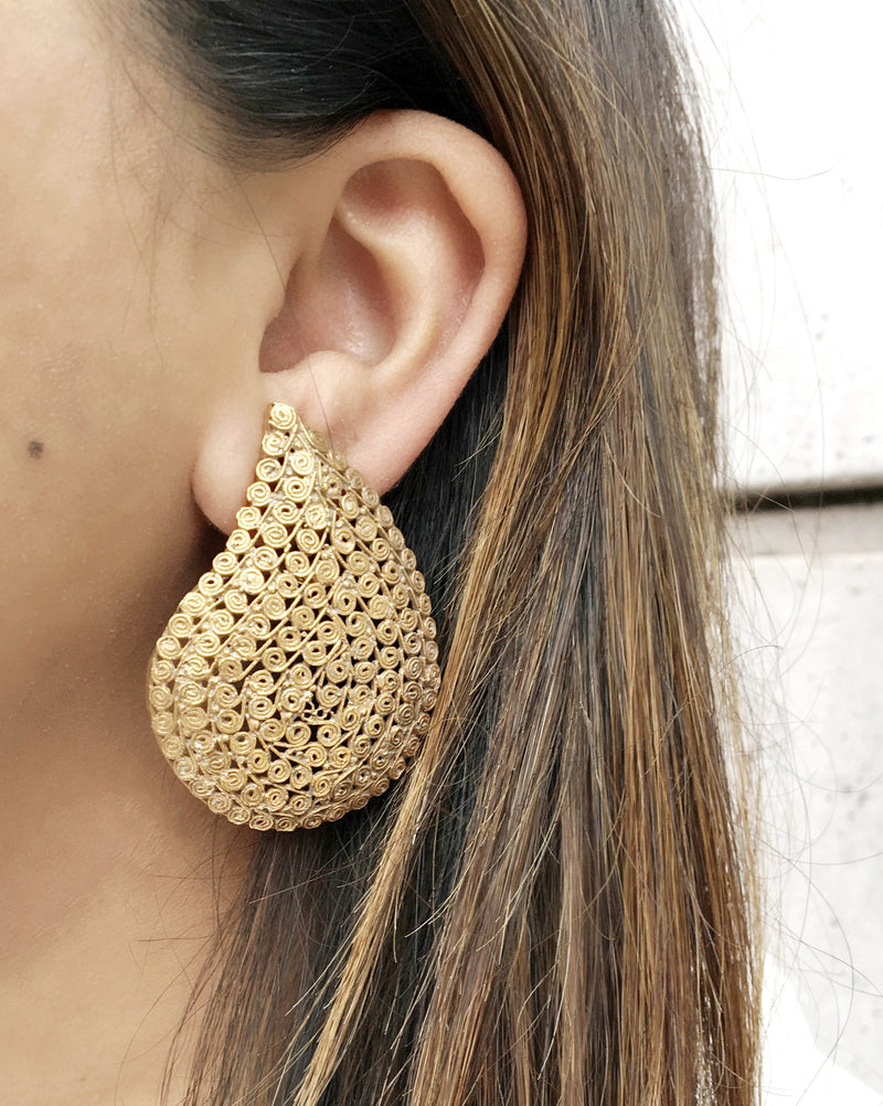 Gold Paisley Earrings