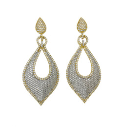 Pave Two Tone Drop Earrings
