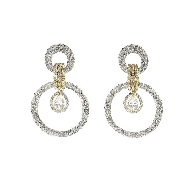 Pave Double Circle Two Tone Earrings