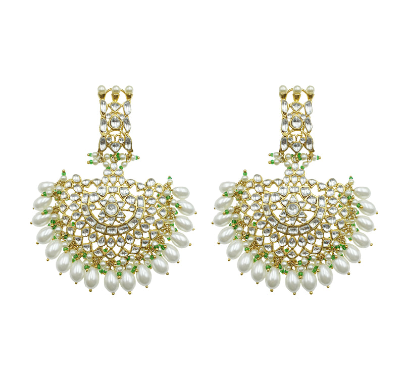 Pearl Kundan Fan Earrings