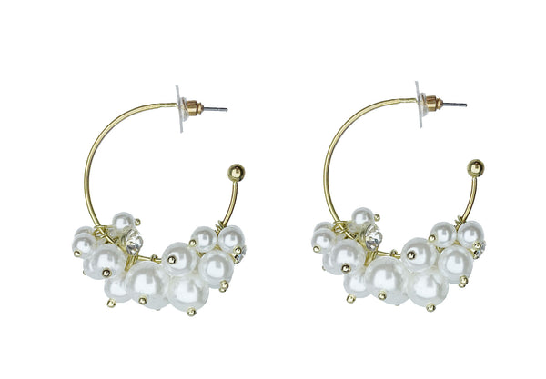 Pearl Clustered Hoop Earrings