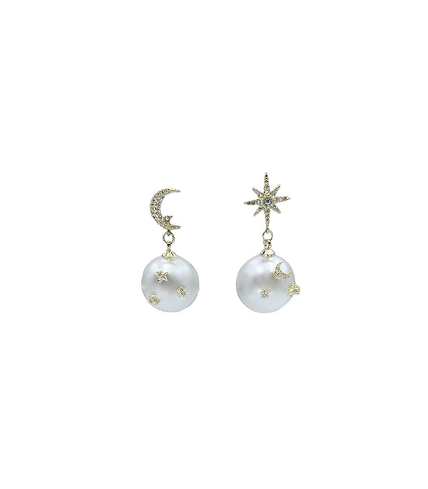 Moon Star Pearl Drop Earrings