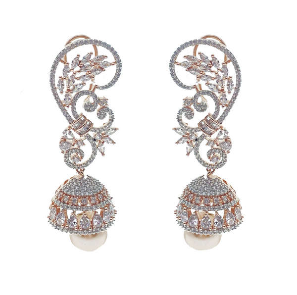 Champagne Pearl Drop Swirls Earrings