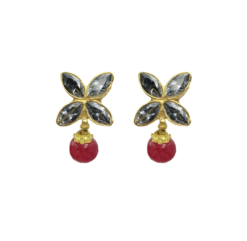 Petite Ruby Flower Earrings