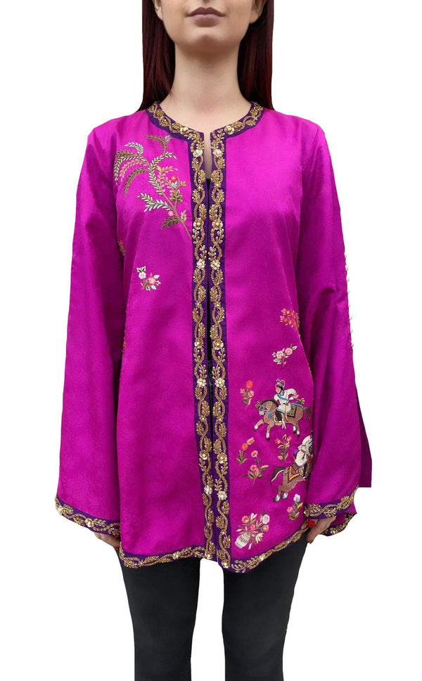 Pink Purple Mughal Beaded Jacket