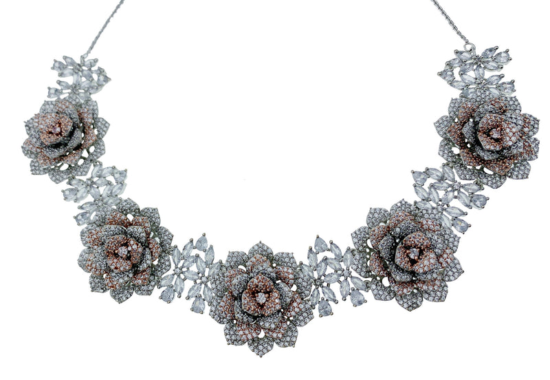 Pave 3D Flower Two Tone Necklace and Earrings