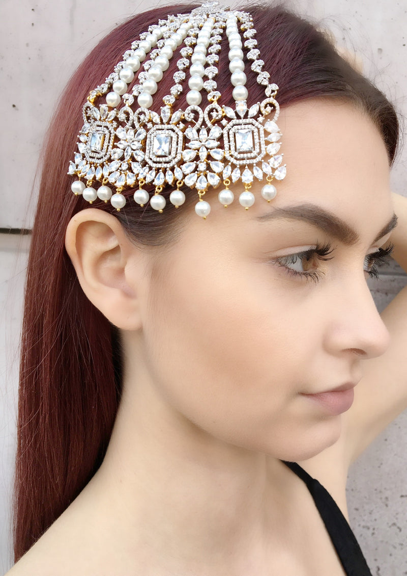 Princess Cut Pearl Jhoomar Headpiece