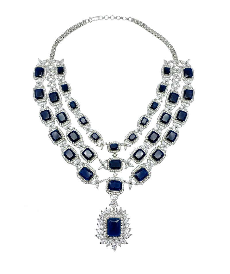 3-Layer Sapphire Princess Pendant Necklace & Earrings