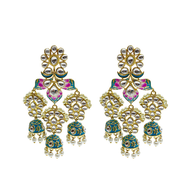 Blue & Pink Kundan Earrings
