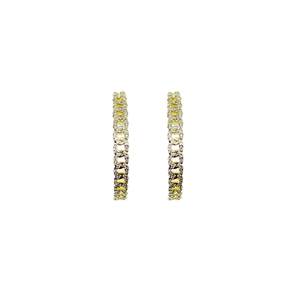 Pave Chain Link Hoop Earrings