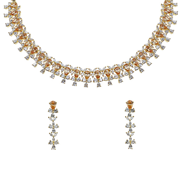 Champagne Pear Diamondesque Necklace & Earrings