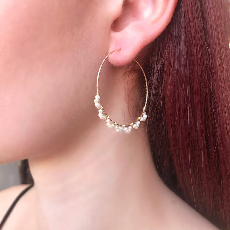 Dainty Gold Wire Pearl Hoop Earrings