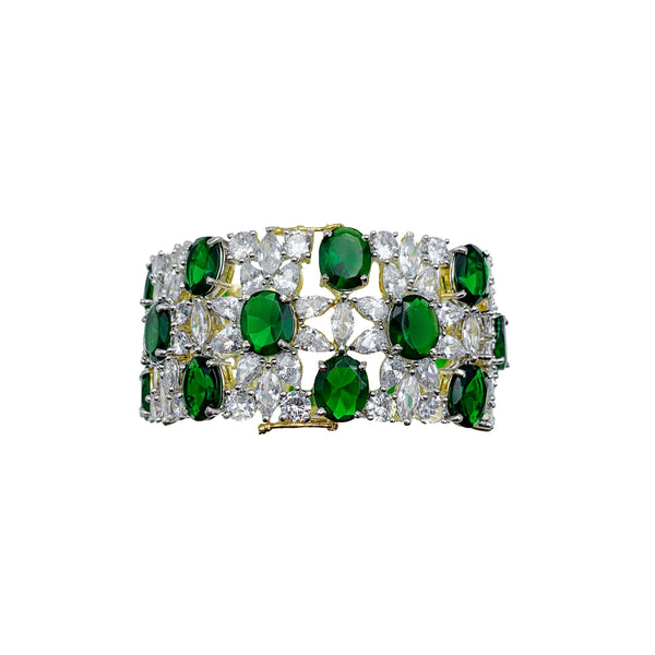Emerald & Diamondesque Oval Cuff Bracelet