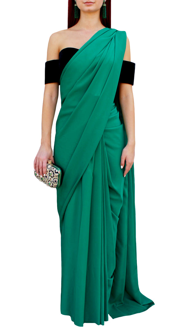 Emerald Green Silk Wrap Sari