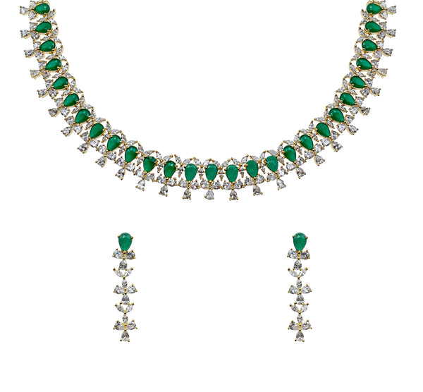 Emerald Pear Diamondesque Necklace & Earrings