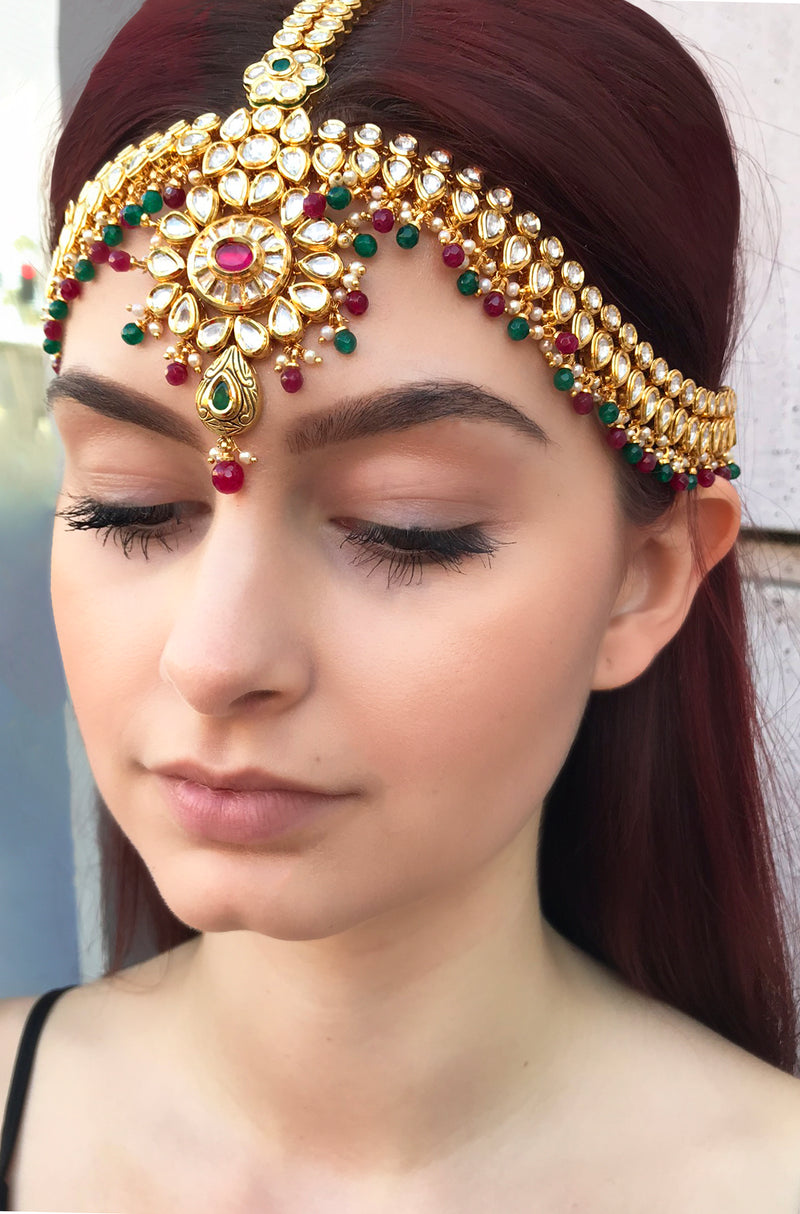 Emerald, Ruby, & Kundan Mathapati Headpiece