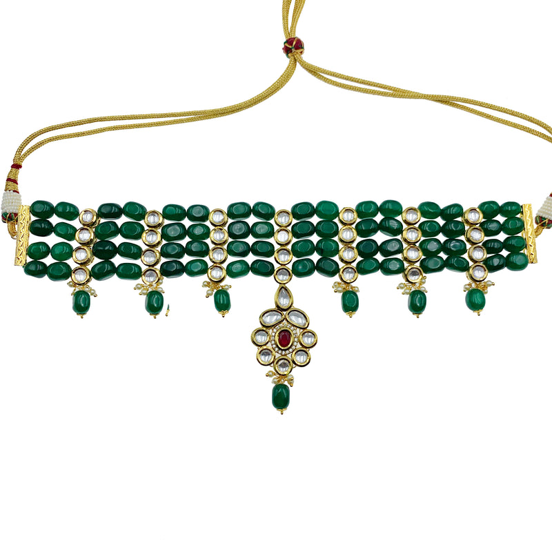 Emerald Strands Kundan Pendant Choker Necklace & Earrings