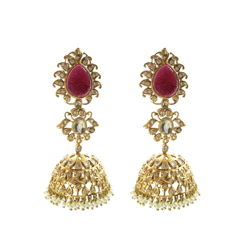 Etched Garnet Gold Pearl Jhumka Earrings