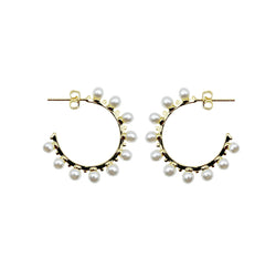 Floating Pearl Hoop Earrings