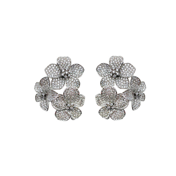 Flower Pave Cluster Earrings