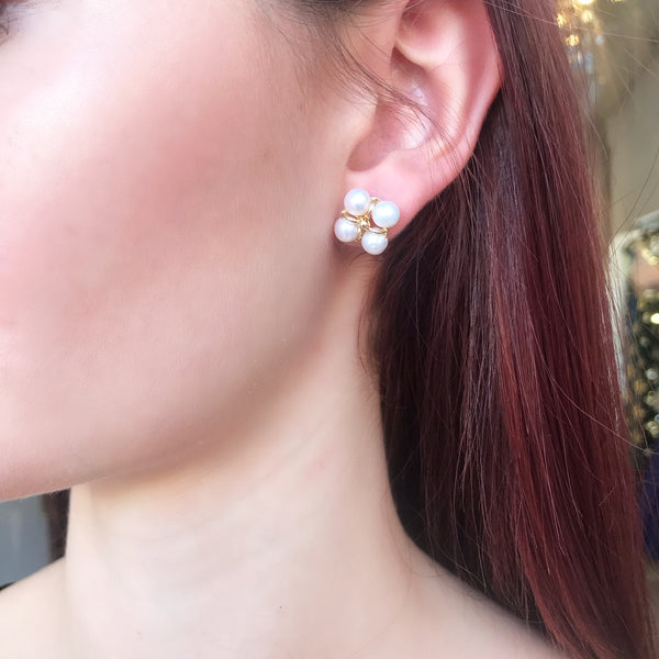 Four Pearl Stud Earrings