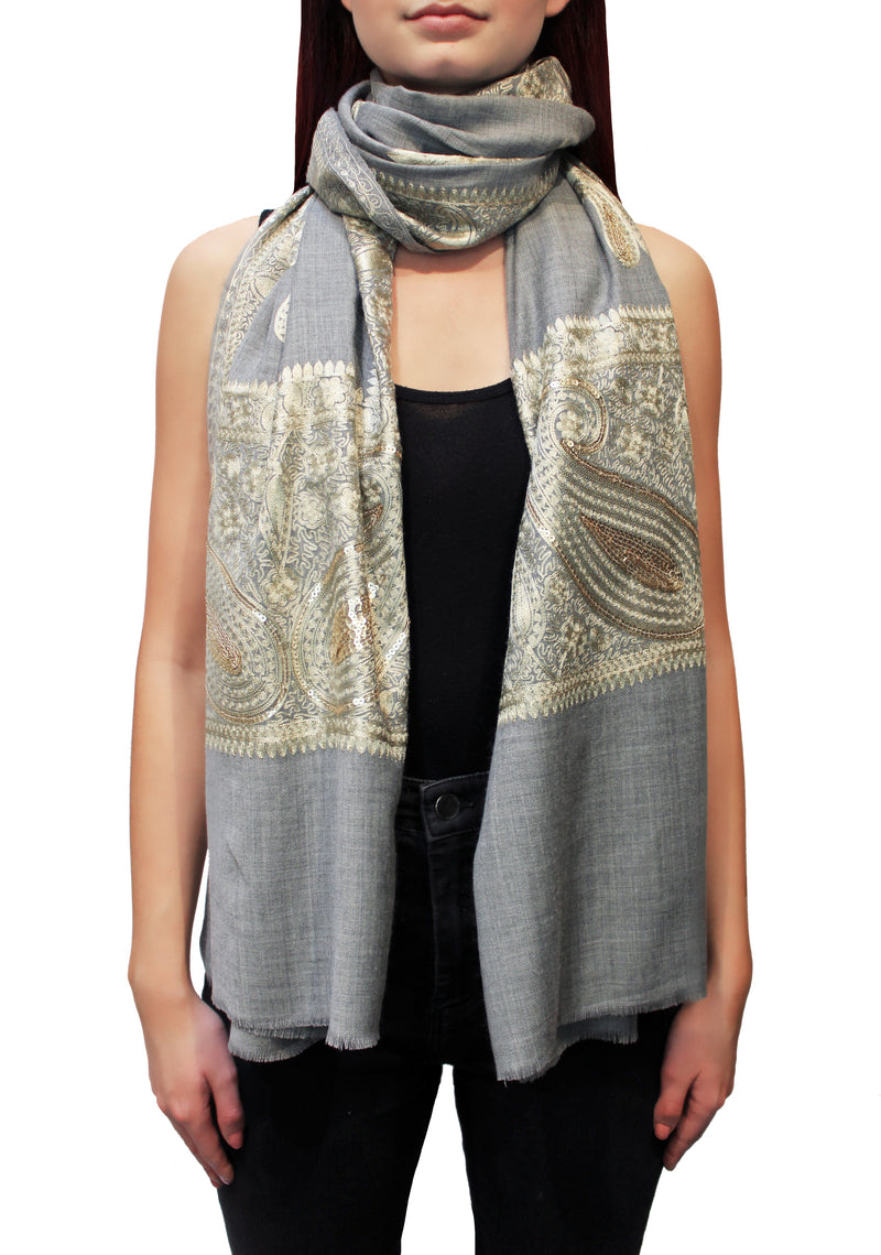 Grey Kashmiri Embroidered Cashmere Pashmina Shawl