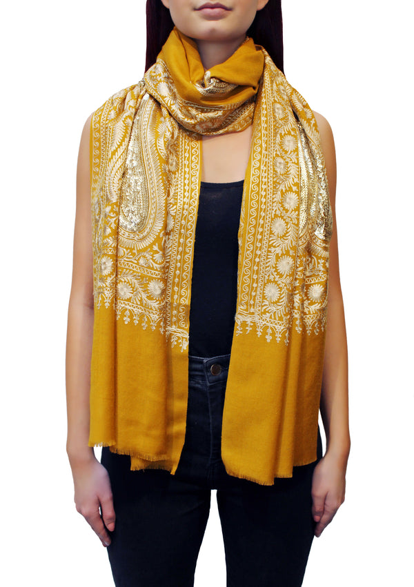 Mustard Yellow Kashmiri Embroidered Cashmere Pashmina Shawl