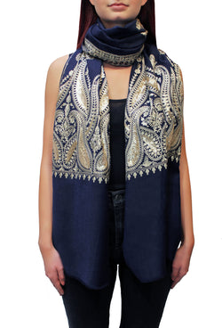 Navy Blue Kashmiri Embroidered Cashmere Pashmina Shawl