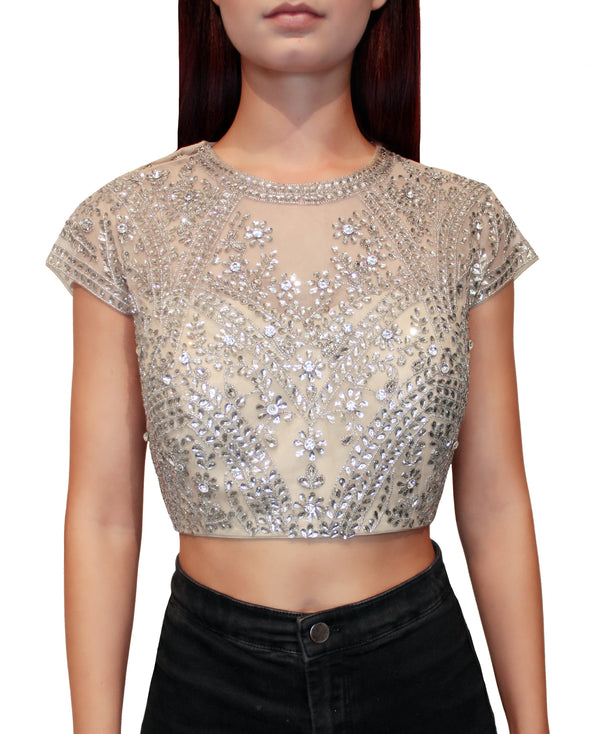 Silver Kundan Beaded Blouse