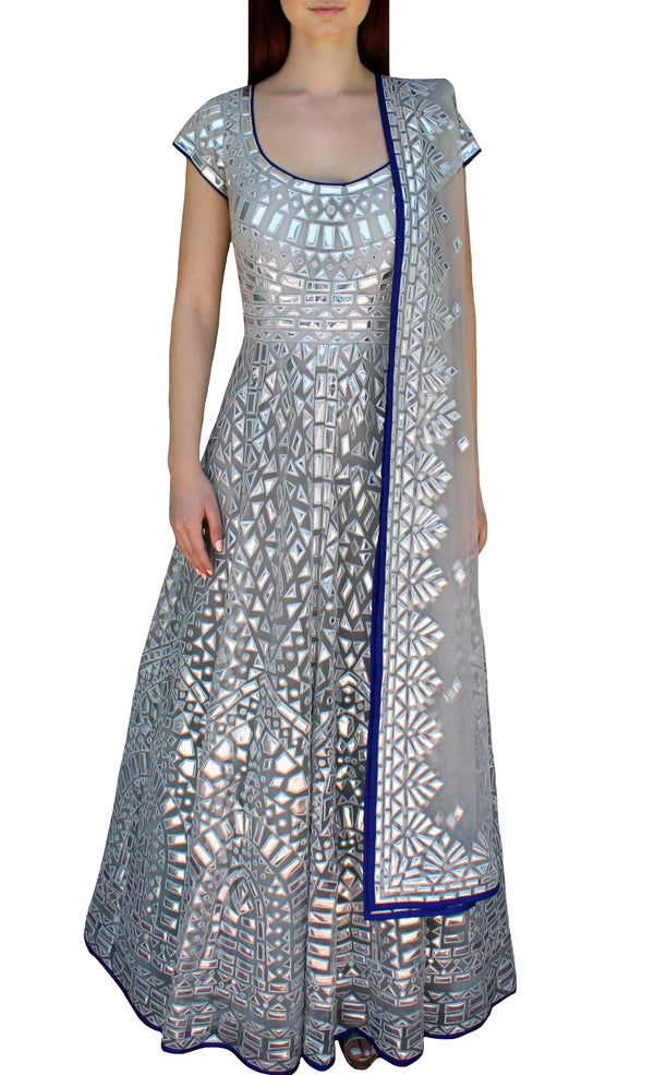 Silver Metallic Gown Formal