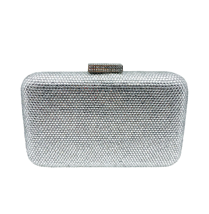 Silver Rectangle Crystal Clutch