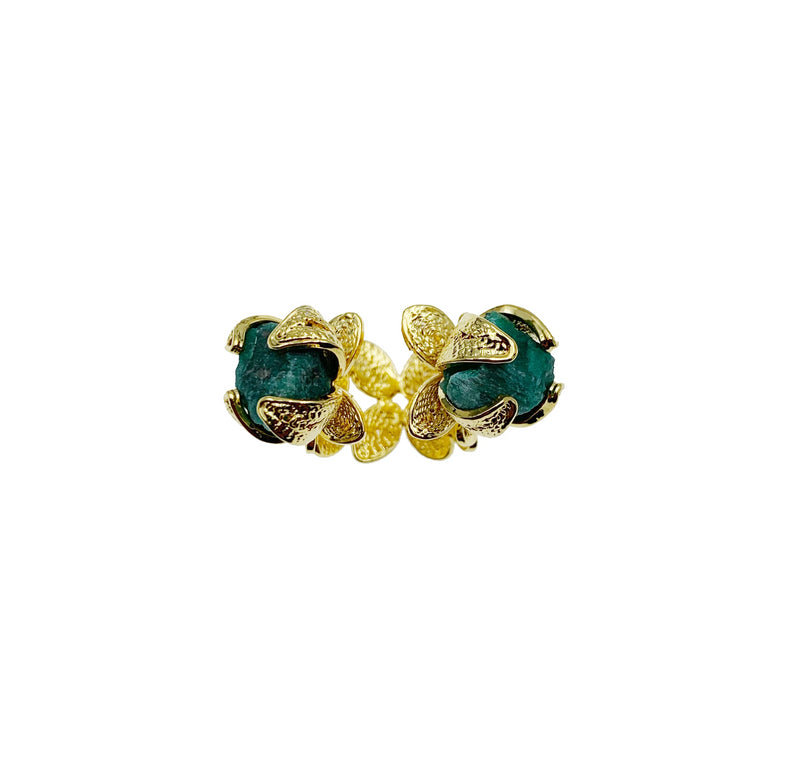 Gold & Emerald Double Stone Ring