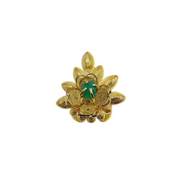 Gold & Emerald Flower Ring