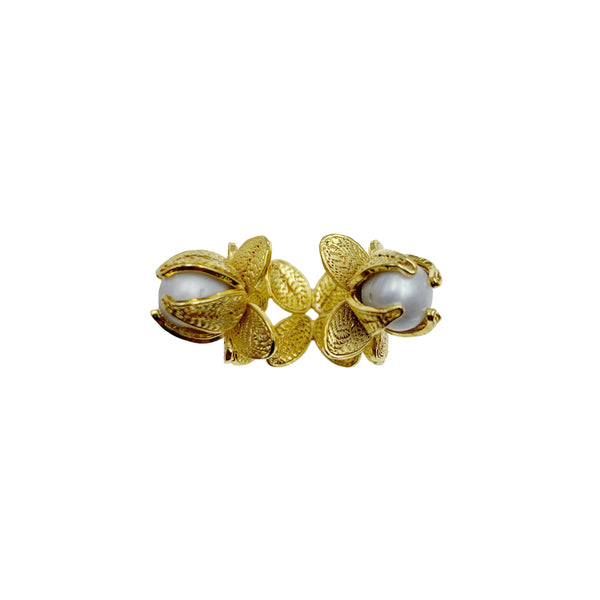Gold & Pearl Double Stone Ring