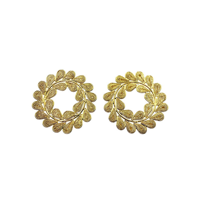 Gold Circle Leafy Earrings