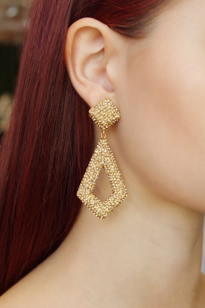 Golden Pave Diamond Shaped Druzy Earrings