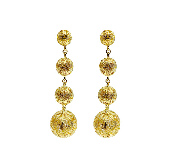 Gold Four Tier Ball Earrings