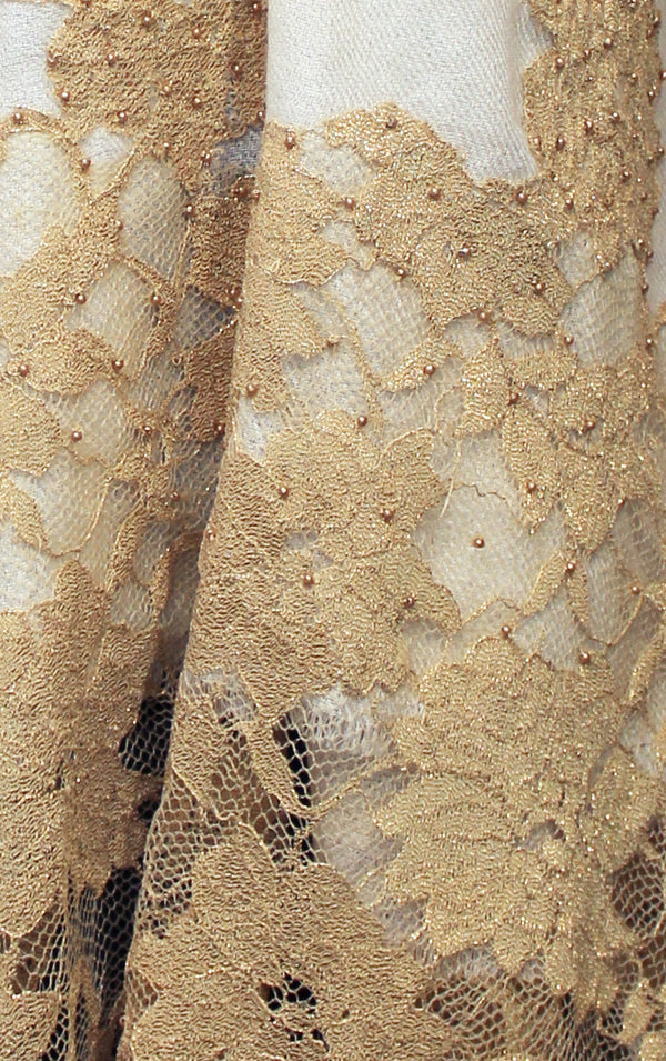 Gold Metallic Beaded Lace Pashmina Shawl