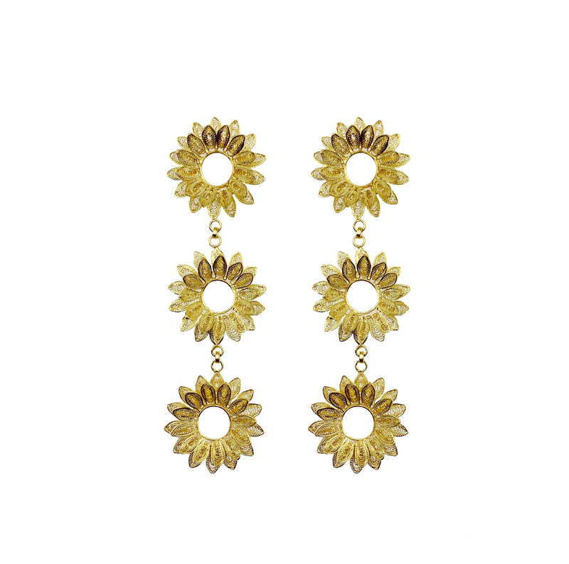 Gold Three Tier Sunflower Earrings