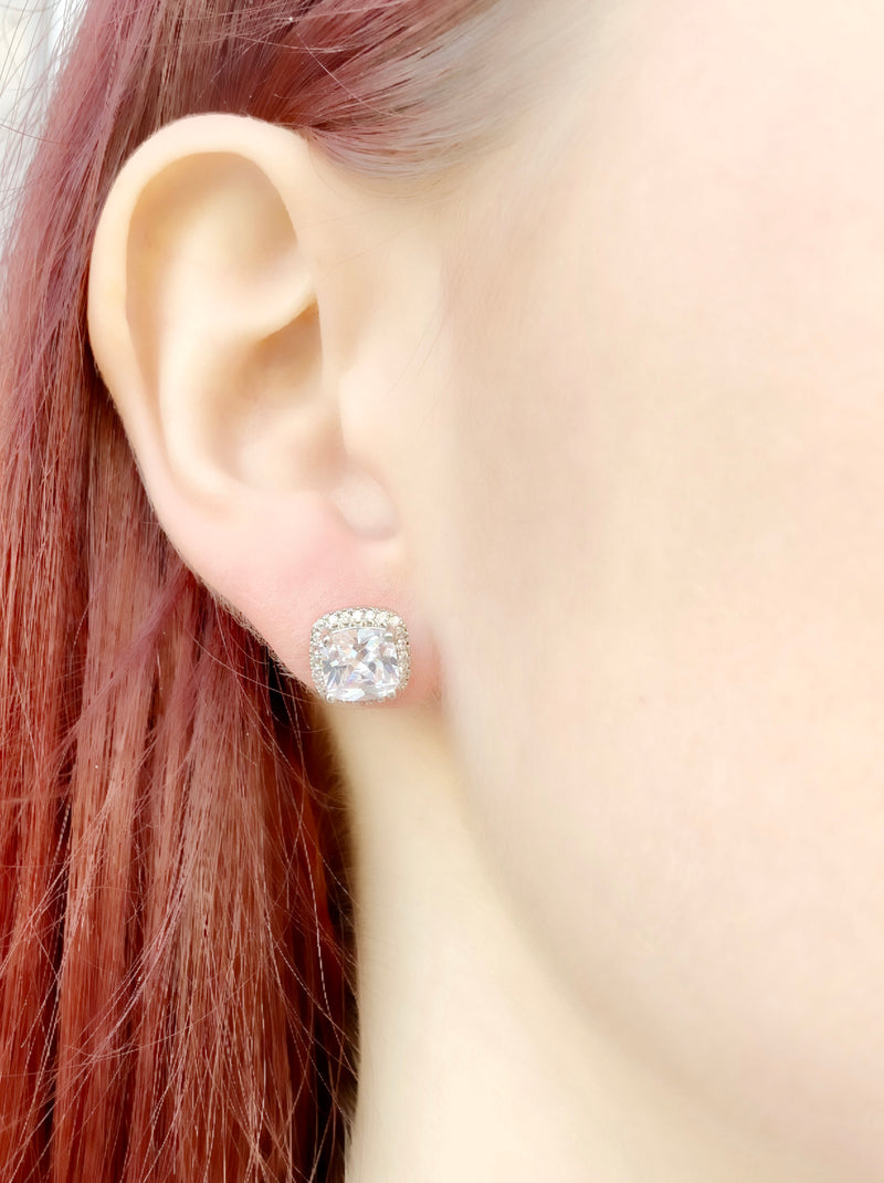 Halo Radiant Cut Stud Earrings