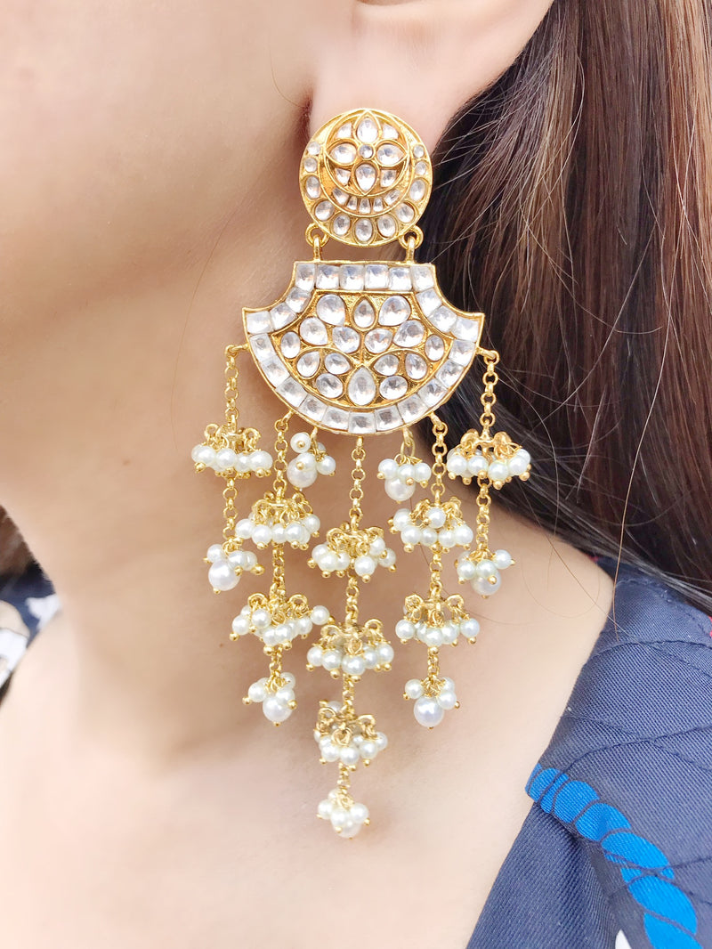 Kundan Fan Pearl Drop Earrings