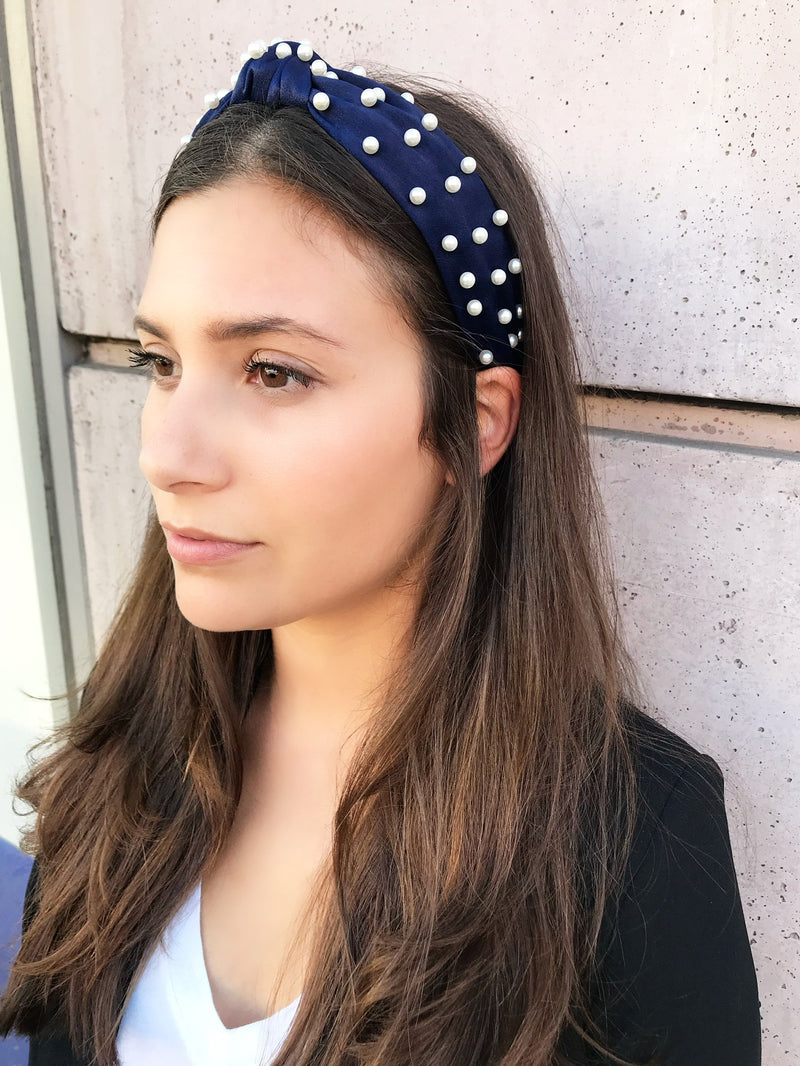 product-midnight-blue-pearl-satin-headband-kamal-beverly-hills