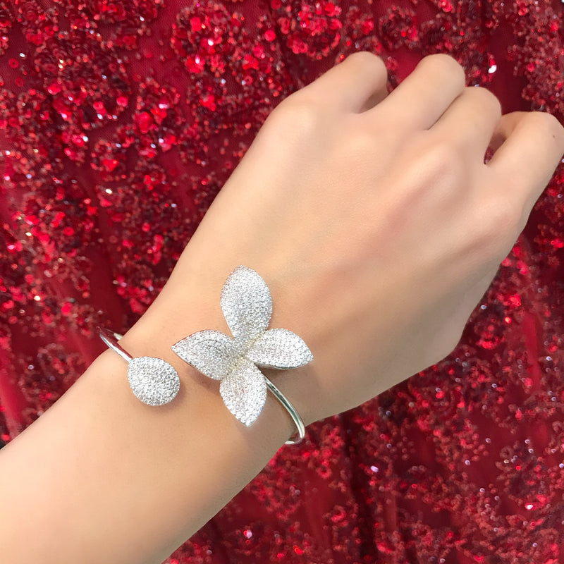 Pave Flower Bangle - White Gold