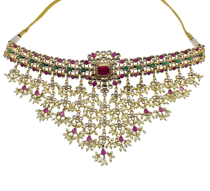 Kundan Ruby Cascading Pearls Choker Necklace & Earrings