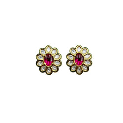 Kundan Flower Stud Earrings