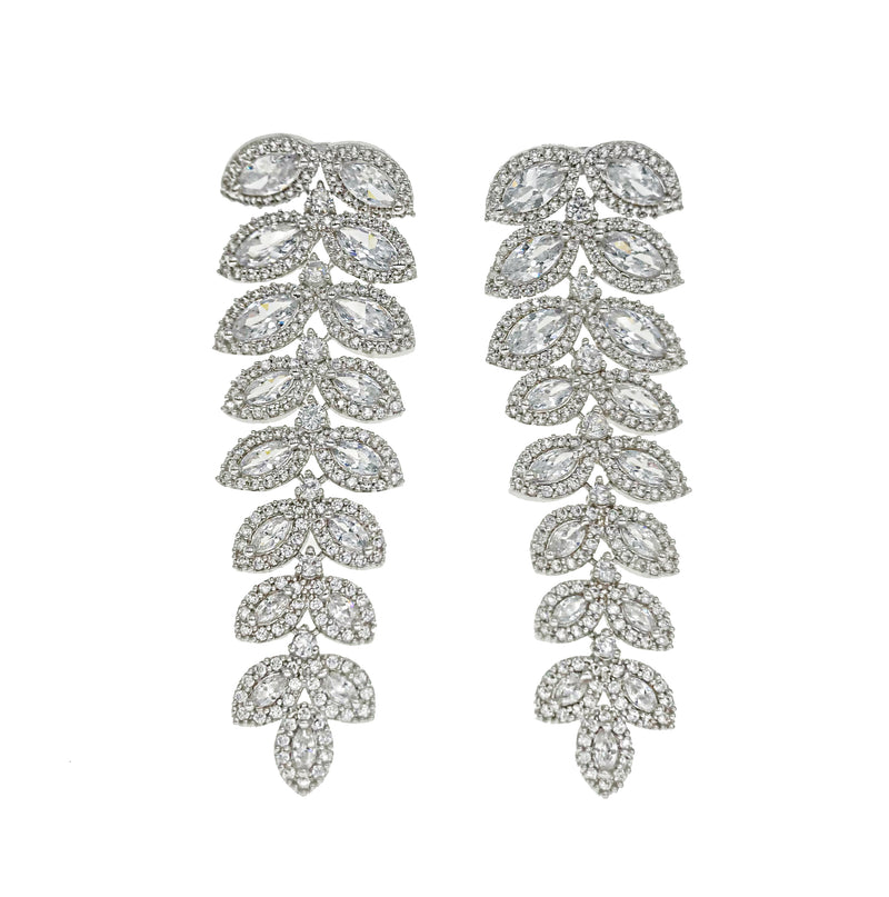 Leafy Cascading Diamondesque Earrings
