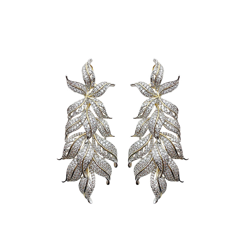 Lilly Leafy Diamondesque Earrings