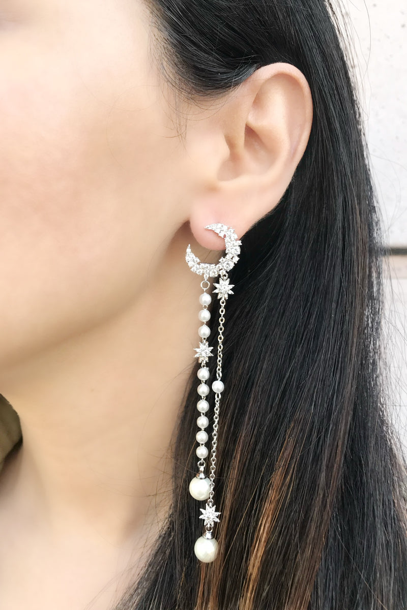 Moon Pearl Strands Earrings